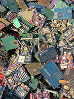 Separation of metals from electronics and telecommunication boards (e-wastes)